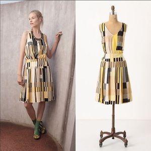 NWT Anthropologie Geometric Pattern Pleated Dress